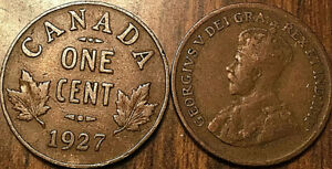 1927 CANADA SMALL 1 CENT COIN PENNY VG TO F BUY 1 OR MORE ITS