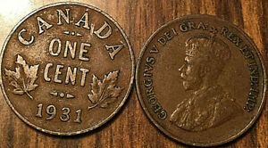 1931 CANADA SMALL 1 CENT COIN PENNY VG TO F BUY 1 OR MORE ITS