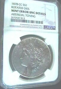 1878 CC SILVER MORGAN DOLLAR ROTATED REVERSE MINT ERROR NGC UNC.DETAILS