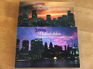 2008 UNITED STATES P & D MINT UNCIRCULATED COIN SET   28 COINS TOTAL  WITH COA