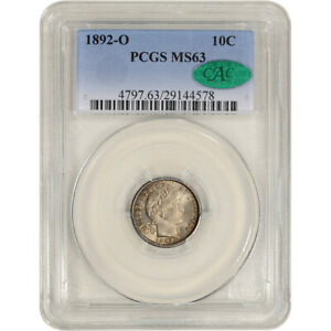 1892 O US BARBER SILVER DIME 10C   PCGS MS63   CAC VERIFIED