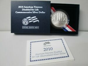 2010 AMERICAN VETERANS DISABLED UNCIRCULATED SILVER DOLLAR COMMEMORATIVE COIN