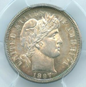 1897 S BARBER DIME PCGS MS63  BETTER DATE
