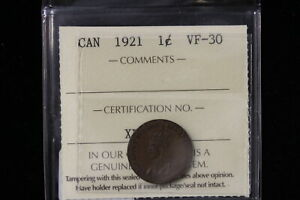 1921 CANADA. ONE CENT. ICCS GRADED VF 30  XLV134 .