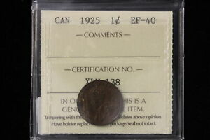 1925 CANADA. ONE CENT. ICCS GRADED EF 40  XLV138 .
