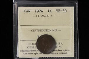 1924 CANADA. ONE CENT. ICCS GRADED VF 30  XLV137 .
