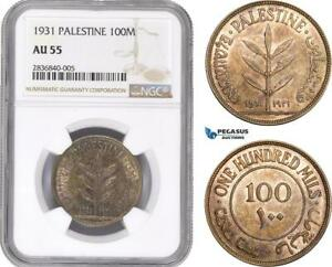 Click now to see the BUY IT NOW Price! AE268 PALESTINE 100 MILS 1931 LONDON SILVER NGC AU55