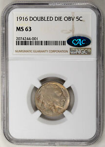 Click now to see the BUY IT NOW Price! 1916 5C DOUBLED DIE OBVERSE BUFFALO NICKEL   NGC MS63 CAC APPROVED US  COIN