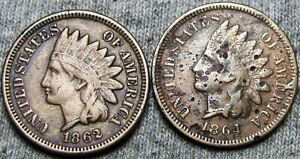 1862 AND 1864 I INITIAL L INDIAN CENT PENNY      NICE DETAILS LOT ERROR?  W532