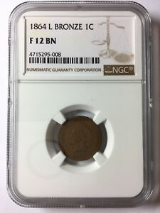 1864 L BRONZE INDIAN HEAD CENT PENNY 1C NGC F 12 BROWN ROTATED DIE ERROR