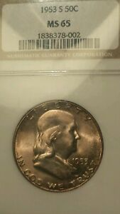 1953 S SILVER FRANKLIN HALF DOLLAR MS 65 NGC OH NICE GEM COLORFUL TONING