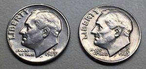1983 D & 1983 P COMBO ROOSEVELT DIME SET   MINT STATE  GETTING   TWO COINS