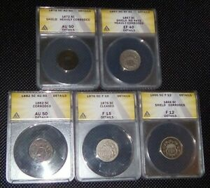 1866 1882 SHIELD NICKEL LOT OF  5  CERTIFIED US TYPE COIN MIX FULL DATE