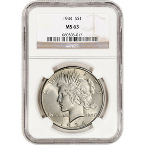 1934 US PEACE SILVER DOLLAR $1   NGC MS63