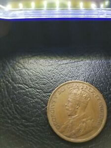1918 CANADIAN CIRCULATED ONE LARGE CENT GEORGE V COIN