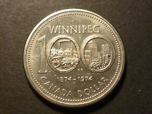CANADA NICKEL DOLLAR 1974 DIE CRACK LINKING BEADS BOTH SIDES
