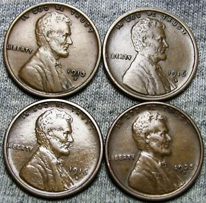 1913 D 1916 D 1916 S 1925 S LINCOLN CENT WHEAT PENNY COIN    NICE LOT      W694