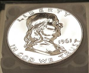1961  FRANKLIN   CHOICE  PROOF   90  SILVER > BLAZING  SURFACES <  922  25