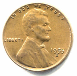 U.S. 1955 S LINCOLN WHEAT PENNY   AMERICAN ONE CENT COIN   SAN FRANCISCO MINT