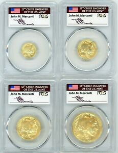 Click now to see the BUY IT NOW Price! 2008 W BURNISHED GOLD BUFFALO 4 COIN SET  $5 10 25 50  SP70 PCGS JOHN MERCANTI