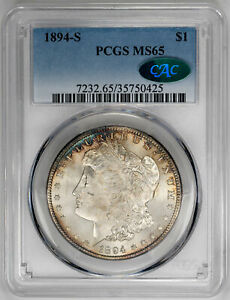 Click now to see the BUY IT NOW Price! 1894 S $1 MORGAN DOLLAR   PCGS MS65 CAC APPROVED