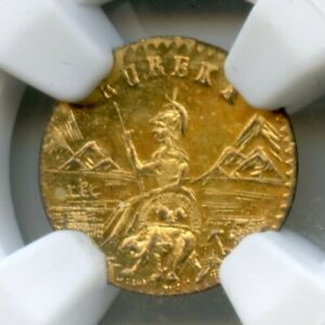 FINEST KNOWN  1885 ARMS OF CALIFORNIA GOLD / NGC MS64DPL ROTATED ERROR POP1