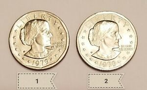 2 1979 D LIBERTY SILVER DOLLARS. COIN 1 HAS AN ERROR IN THE D