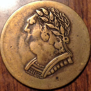 1820 LOWER CANADA HALF PENNY TOKEN BUST AND HARP IN