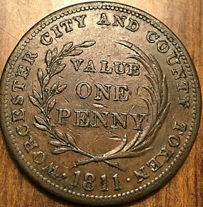 1813 WORCESTER CITY AND COUNTY ONE PENNY TOKEN