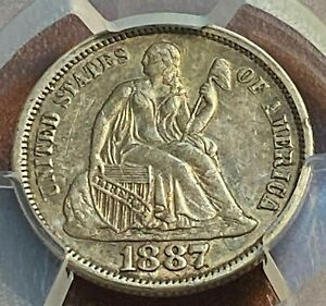 1887 SEATED DIME PCGS AU53 ORIGINAL BEAUTY SCRATCH FREE HOLDER CHN