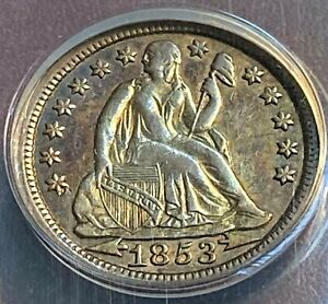 1853 ARROWS SEATED 10C ANACS XF45 BIG REVERSE DIE PRETTY CHN