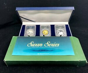 Click now to see the BUY IT NOW Price! 2017 P AUSTRALIA SWAN SERIES 1OZ GOLD & SILVER 3 COIN SET PROOF PCGS MS70 W/ BOX