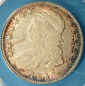 1817 CAPPED BUST HALF DOLLAR ANACS VF35  NICELY TONED EARLY DATE SHARP COLORS