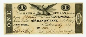 1817 $1 THE BANK OF HUDSON NEW YORK NOTE  PAYABLE AT MECHANICS' BANK IN NYC