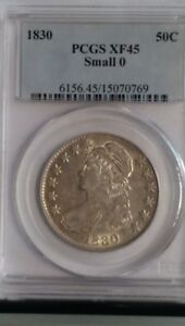 1830 CAPPED BUST HALF DOLLAR. PCGS GRADED XF 45  SMALL O. LOOKS UNDER GRADED.
