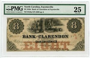 1855 $8 THE BANK OF CLARENDON AT FAYETTEVILLE NORTH CAROLINA NOTE   PMG VF 25