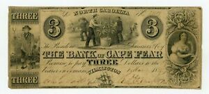 1855 $3 THE BANK OF CAPE FEAR   WILMINGTON NORTH CAROLINA NOTE