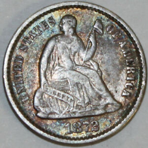 1872 P SEATED LIBERTY HALF DIME [SN01]