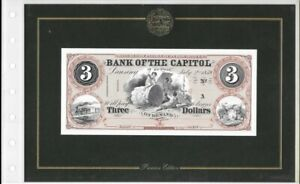 AMERICAN PAPER MONEY COLLECTION 1859 THE BANK OF THE CAPITOL $3 NOTE ABN CO