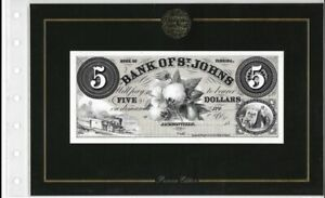 AMERICAN PAPER MONEY COLLECTION 1858 THE BANK OF ST. JOHNS $5 NOTE ABN CO