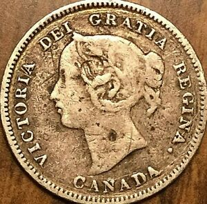 1900 CANADA SILVER 5 CENTS COIN   OVAL 00 VARIETY