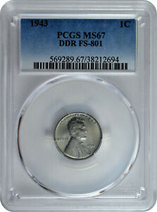 Click now to see the BUY IT NOW Price! 1943 1C LINCOLN STEEL WHEAT CENT PCGS MS 67 DDR FS 801 TOP POP 1/0