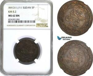 Click now to see the BUY IT NOW Price! AE397 SUDAN 5 PIASTRES AH1311/11 KHARTOUM BILLON KM 5.2 NGC MS62BN