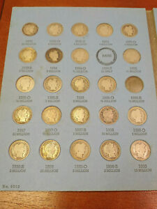 ALMOST COMPLETE SET OF BARBER DIMES COLLECTION MISSING 1896 S & 1894 S
