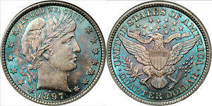 Click now to see the BUY IT NOW Price! PCGS BARBER QUARTER 25C 1897 MS67  CAC TOP POP.  BLUE TONING TONED COIN