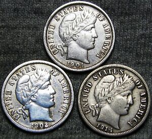 1901 O 1902 O 1914 S BARBER DIME LOT SILVER US COIN     NICE     T130