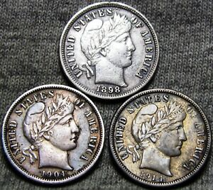 1898 1904 1914 BARBER DIME LOT SILVER US COIN     NICE DETAILS     T133