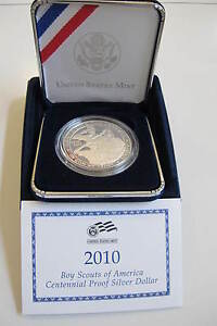 2010 BOY SCOUTS OF AMERICA PROOF SILVER DOLLAR PERFECT OUT OF MINT BOX