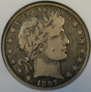 1897 O BARBER HALF DOLLAR ANACS F12 OLD SMALL HOLDER SOLID ORIGINAL COIN