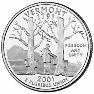 2001 D VERMONT STATE QUARTER ROLL   DENVER MINT